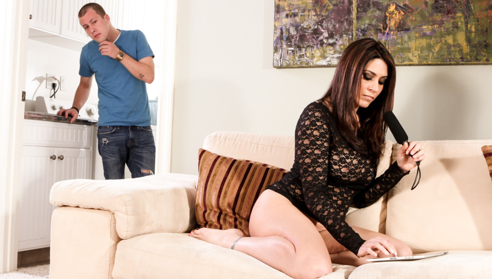 Sexy brunette Raylene gets fucked on the sofa