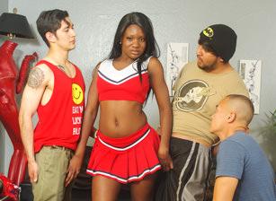 Ebony cheerleader gangbanged.