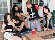 Between scenes hang out sex joanna angel lily lane small hands xander corvus vera drake. My friends cannot keep their dirty little paws off each other when we're all together - we like to have fun and, what can I say - sometimes fun means a sex party. Lily Lane, Xander Corvus, and Vera Drake were here between shoots, and they're all horny sluts just like Small Hands and I. Everyone pulls their breasts out, Xander fucks Lily's face and makes her cunt squirt the table. They take it inside whilst Vera, myself, and my boyfriend make out and pet each other. I love sharing his tool with beautiful girls, watching her get tit-fucked and cock sucking his dick, then tasting her cute juices off him.