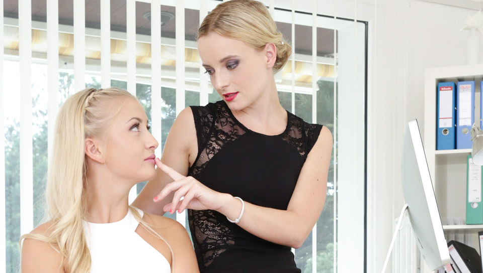 Lusty blonde lesbians orgasm each other in the office in HD
