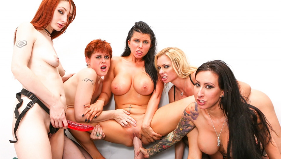 Four super horny lesbians fuck the shit out of Romi Rain in HD