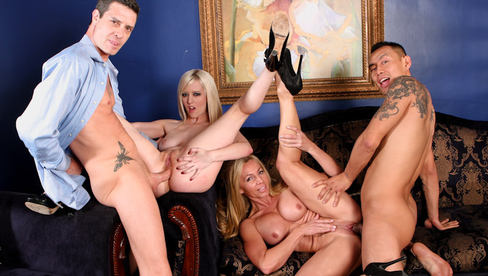 Lisa Demarco and her friend Cherry Torn fuck in foursome